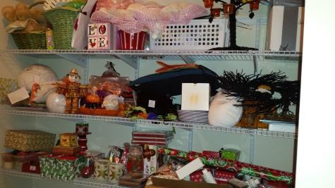 Storage Closet after seasonal decorations storage shelves